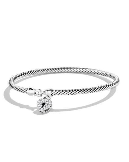 David Yurman Cable Collectibles Heart Lock Bracelet with Diamonds