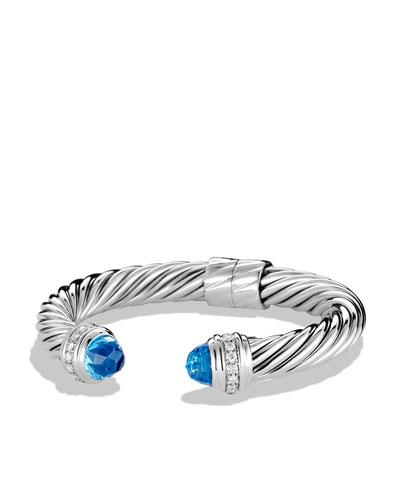 David Yurman 10mm Blue Topaz Cable Bracelet