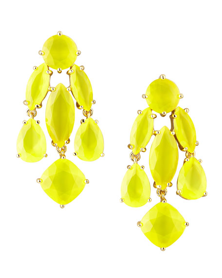 statement crystal earrings, yellow