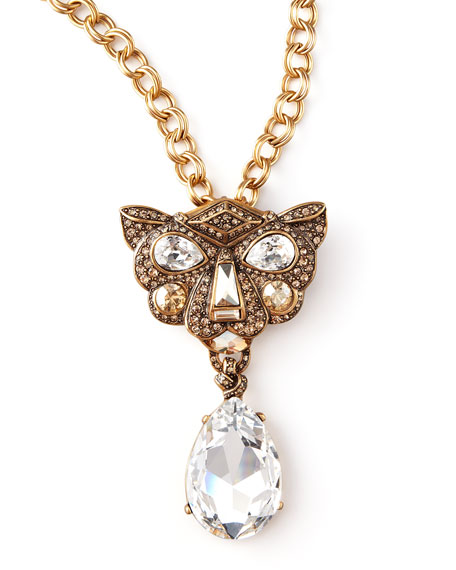 Crystal Panther Brooch-Pendant Necklace
