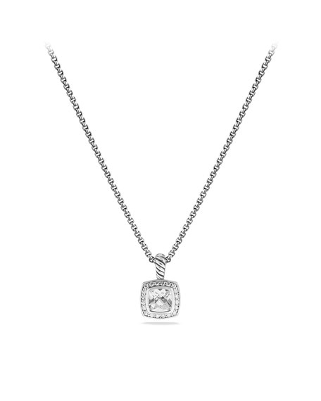 Petite Albion Pendant with White Topaz and Diamonds on Chain
