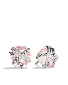 David Yurman Cable Wrap Earrings with Rose Quartz and Diamonds