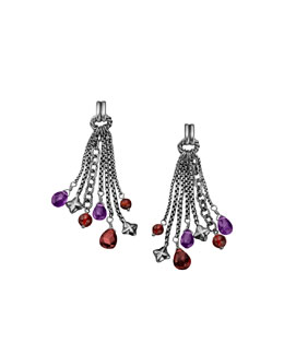 David Yurman Bead Tassel Earrings with Garnet and Amethyst