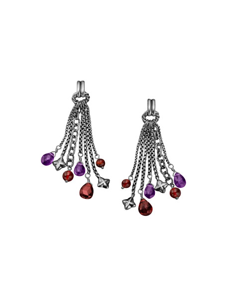 Bead Tassel Earrings with Garnet and Amethyst