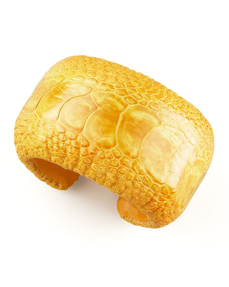 Ostrich Leather Cuff, Yellow
