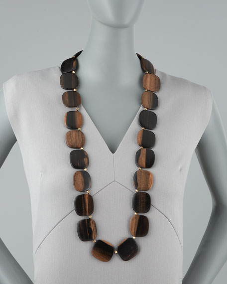 Long Wooden Bead Necklace
