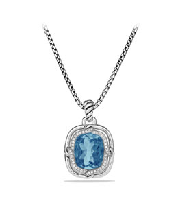 David Yurman Labyrinth Large Pendant with Blue Topaz and Diamonds