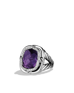 David Yurman Labyrinth Ring with Amethyst and Diamonds