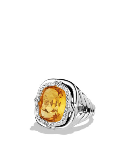 Labyrinth Ring with Citrine and Diamonds