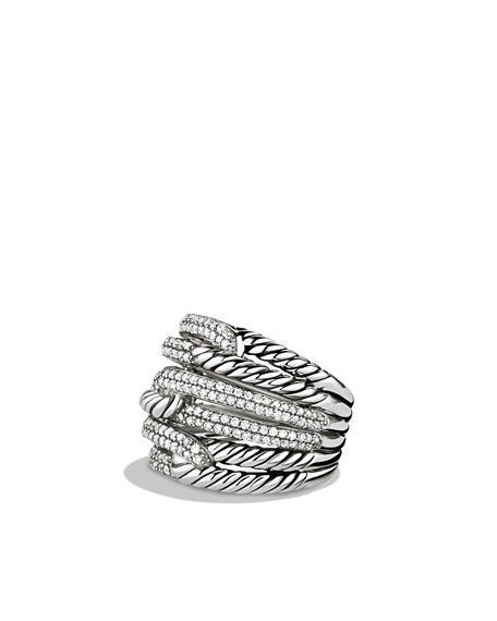 Labyrinth Triple-Loop Ring With Diamonds in Silver