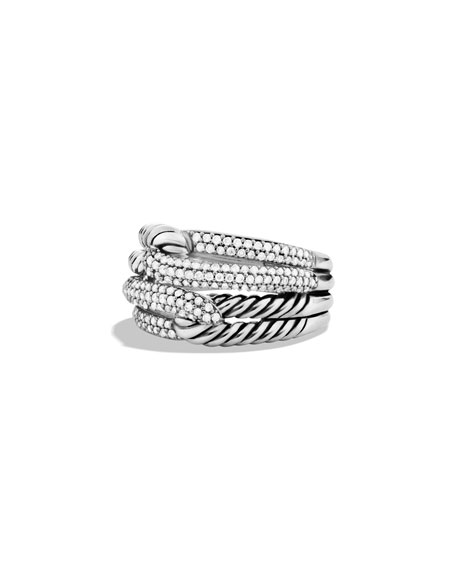 Labyrinth Double-Loop Ring With Diamonds, Silver