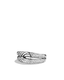 David Yurman Labyrinth Single-Loop Ring with Diamonds
