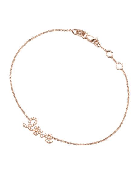 Sydney Evan Rose Gold Diamond Love Bracelet