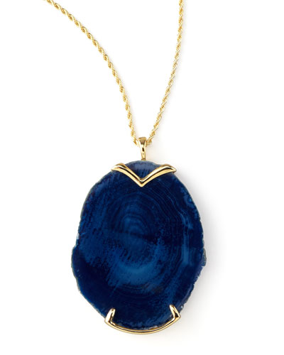 Kenneth Jay Lane Blue Agate Pendant Necklace