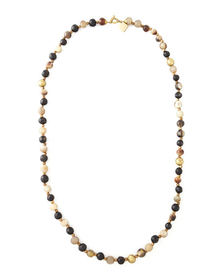 """Haba Horn Bead Necklace, 41""""L"""