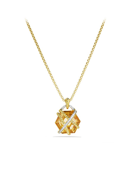 Cable Wrap Pendant with Champagne Citrine and Diamonds in Gold on Chain
