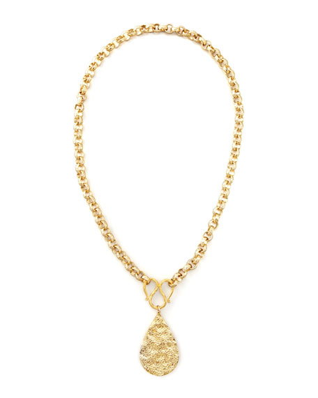 Devon Leigh GOLD TEARDROP PEND NECKLACE