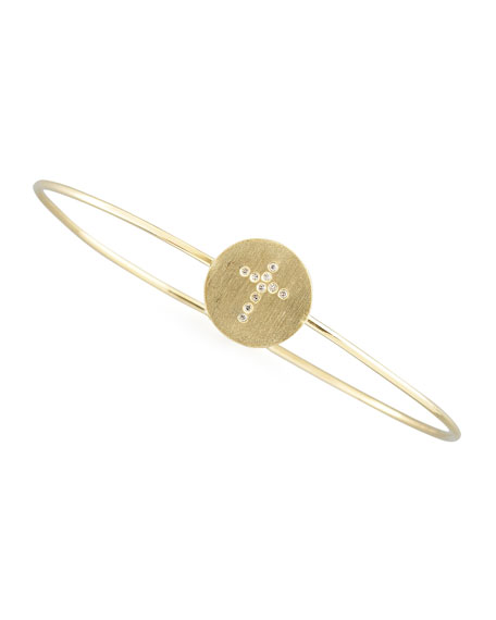 Roberto Coin Diamond Cross Bangle, Gold