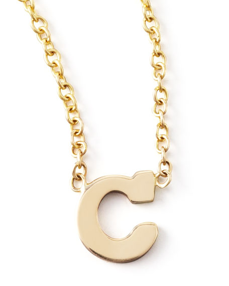 gold block initial necklace