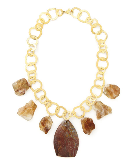Devon LeighRainbow Jasper & Citrine Necklace