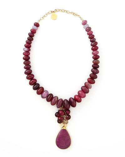 Devon Leigh Fuchsia Agate & Ruby Quartz Necklace