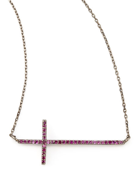Gunmetal Pave Cross Necklace, Pink