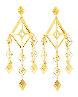 Eddie Borgo Gold Large Lattice Chandelier Earrings