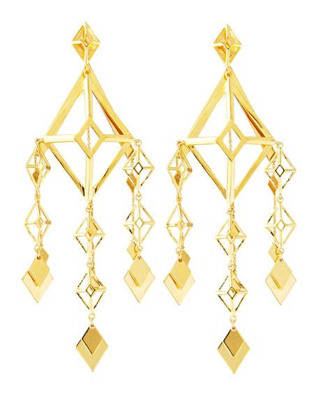Gold Large Lattice Chandelier Earrings