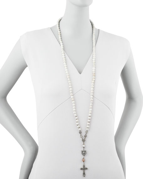 Long Rosary Necklace, White