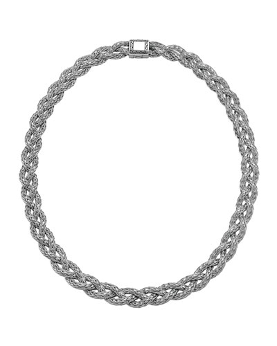 John Hardy Small Braided Silver Chain Necklace