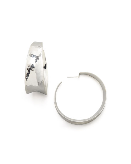 NEST Jewelry Hammered Silver Hoop Earrings