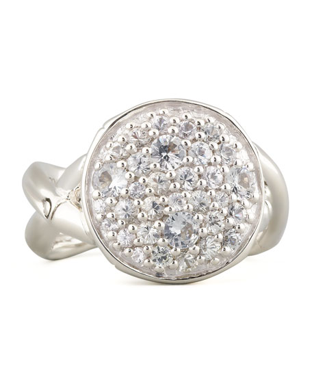 Lava Small White Topaz Round Ring