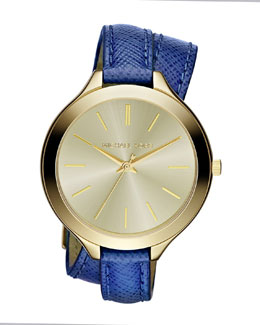 Michael Kors  Mid-Size Navy Leather Double-Wrap Watch