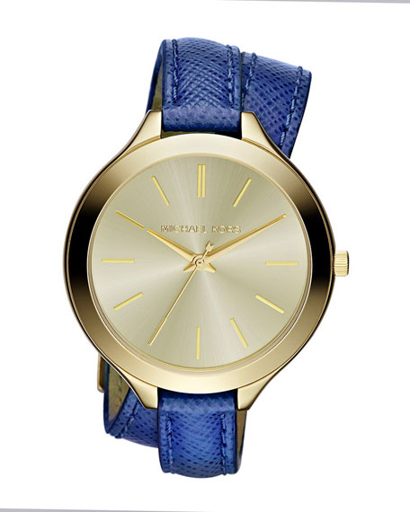 Mid-Size Navy Leather Double-Wrap Watch