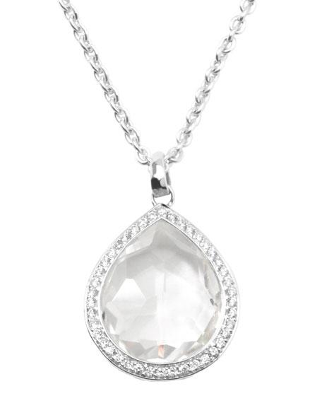 Stella Teardrop Pendant Necklace in Clear Quartz with Diamonds