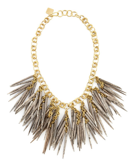 Grey Quill-Bead Necklace