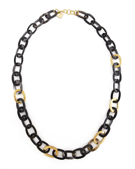 Ashley Pittman Bronze & Horn Link Mara Necklace