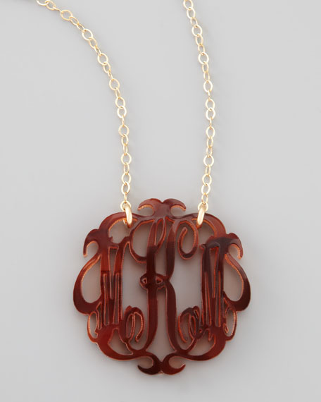 Medium Acrylic Script Monogram Pendant Necklace
