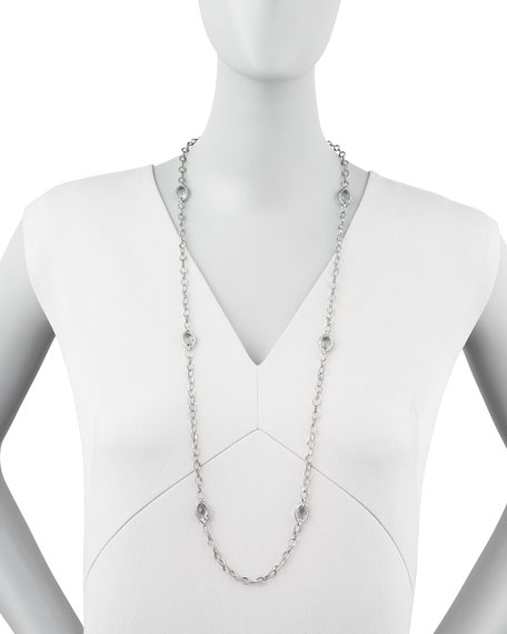 """Venus Rock Crystal Station Necklace, 35""""L"""