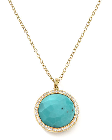 Ippolita Gold Rock Candy Lollipop Diamond Turquoise Pendant