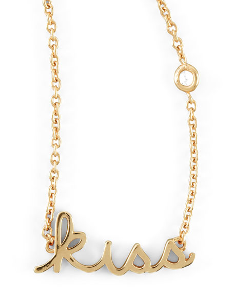 Kiss Word Diamond-Detail Gold-Plate Necklace