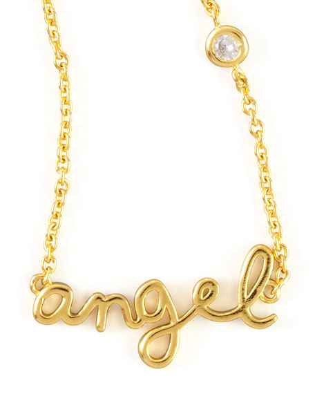SHY by SE Angel Word Diamond-Detail Gold-Plate Necklace