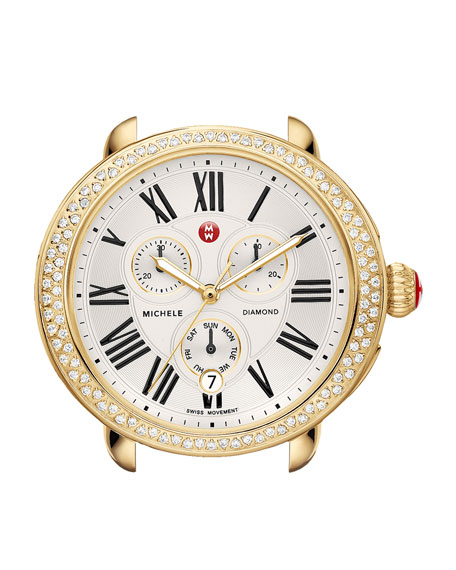 MICHELE 18mm Gold Serein Diamond Watch Head &