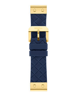 Brera 22mm Navy Woven Silicone Strap, Golden
