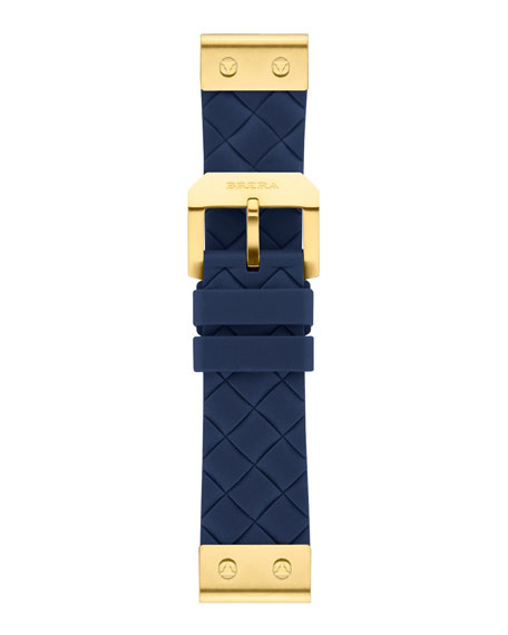 22mm Navy Woven Silicone Strap, Golden