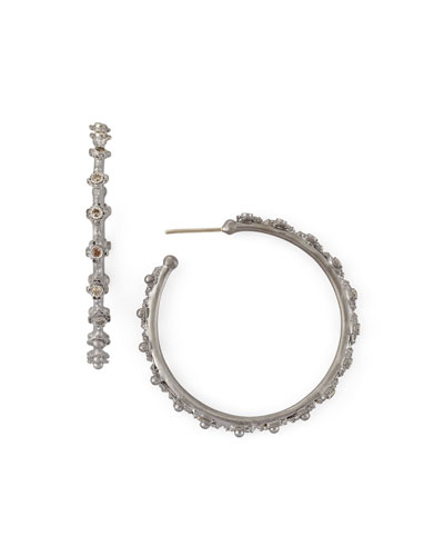 Armenta New World Mini-Cross Diamond Hoop Earrings