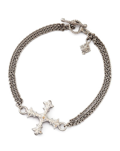 Armenta New World Diamond Cross 3-Strand Chain Bracelet