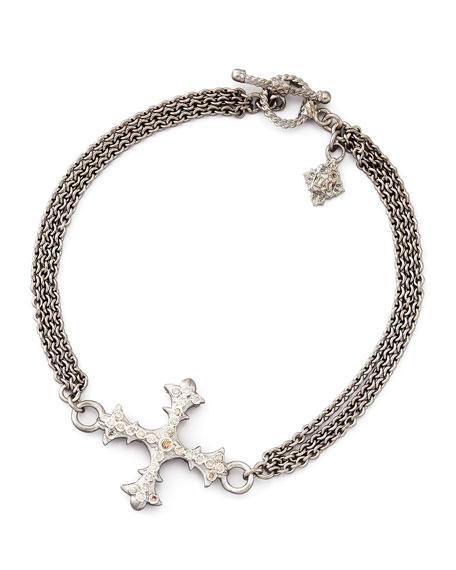 New World Diamond Cross 3-Strand Chain Bracelet