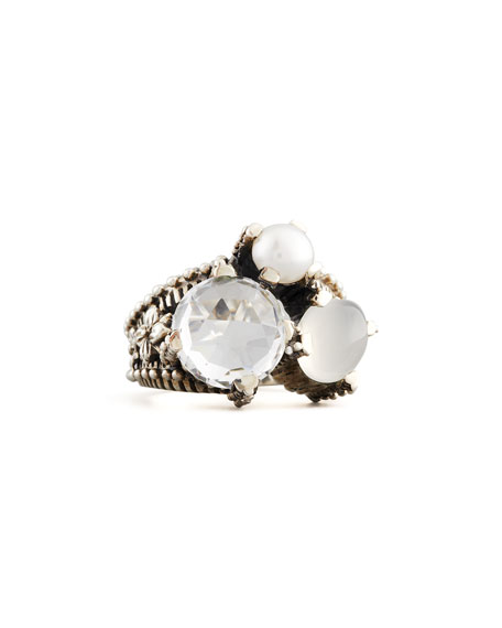 Small White Stone Popcorn Ring