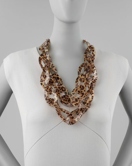 Double-Strand Leopard-Print Enamel Necklace, Brown